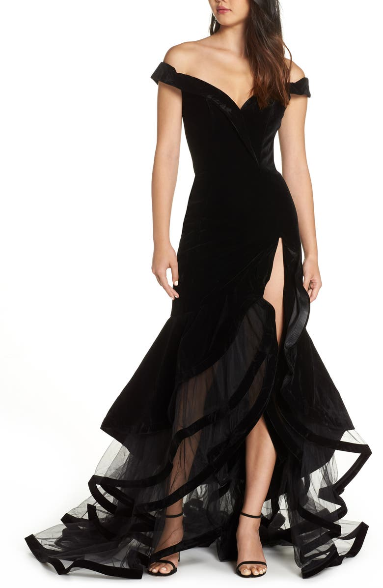 MAC DUGGAL Off the Shoulder Tiered Ballgown, Main, color, BLACK