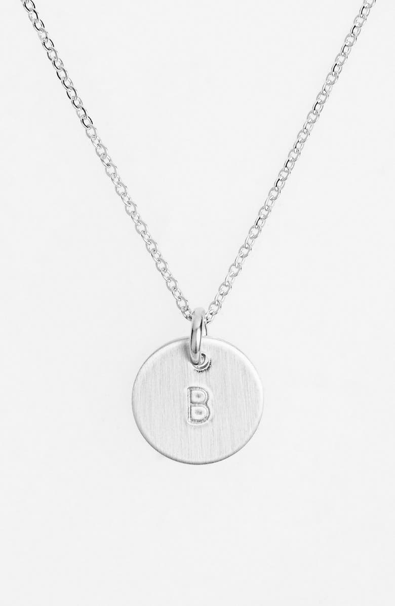 NASHELLE Sterling Silver Initial Mini Disc Necklace, Main, color, STERLING SILVER B