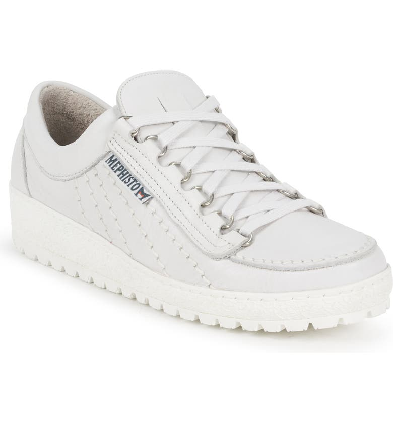 MEPHISTO Rainbow Sneaker, Main, color, WHITE LEATHER