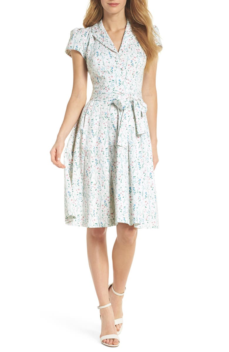 GAL MEETS GLAM COLLECTION Anne Spring Sprig Print Wrap Style Dress, Main, color, 695