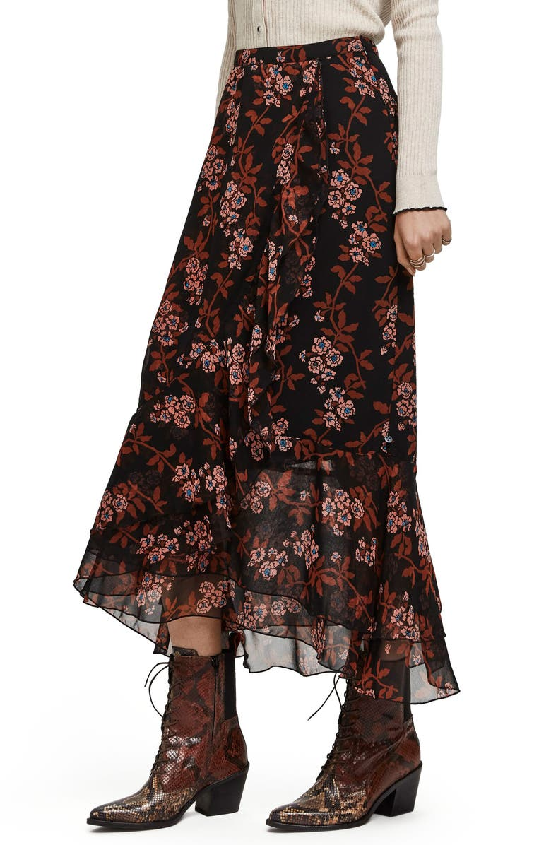 SCOTCH & SODA Printed Ruffle Maxi Skirt, Main, color, 001