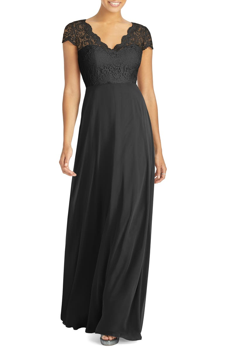 DESSY COLLECTION Lace & Chiffon Cap Sleeve Gown, Main, color, 001