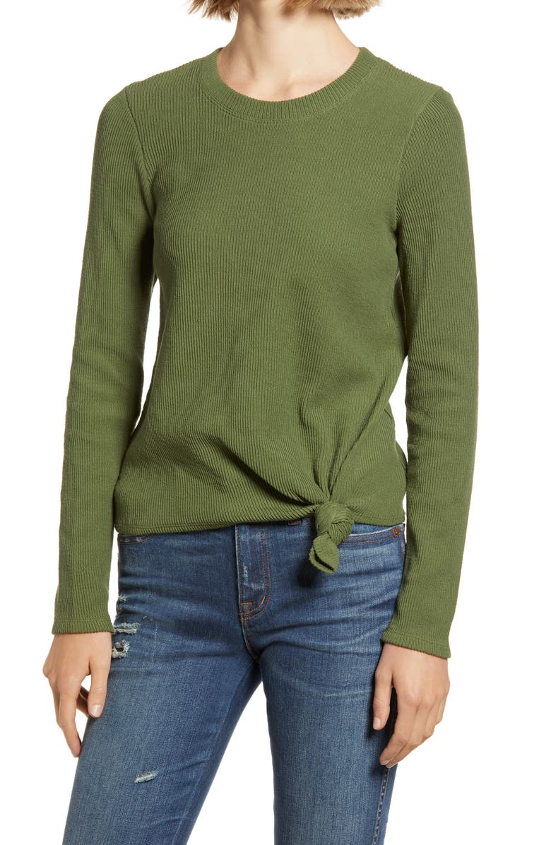 MADEWELL Texture & Thread Front Knot Jacquard Top, Main, color, 300