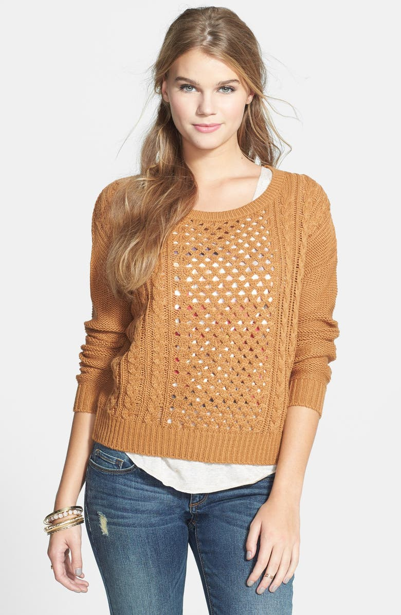 SUN & SHADOW Openwork Cable Knit Pullover, Main, color, 210