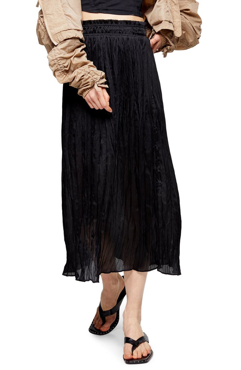 TOPSHOP Pleated Crushed Satin Skirt, Main, color, BLACK