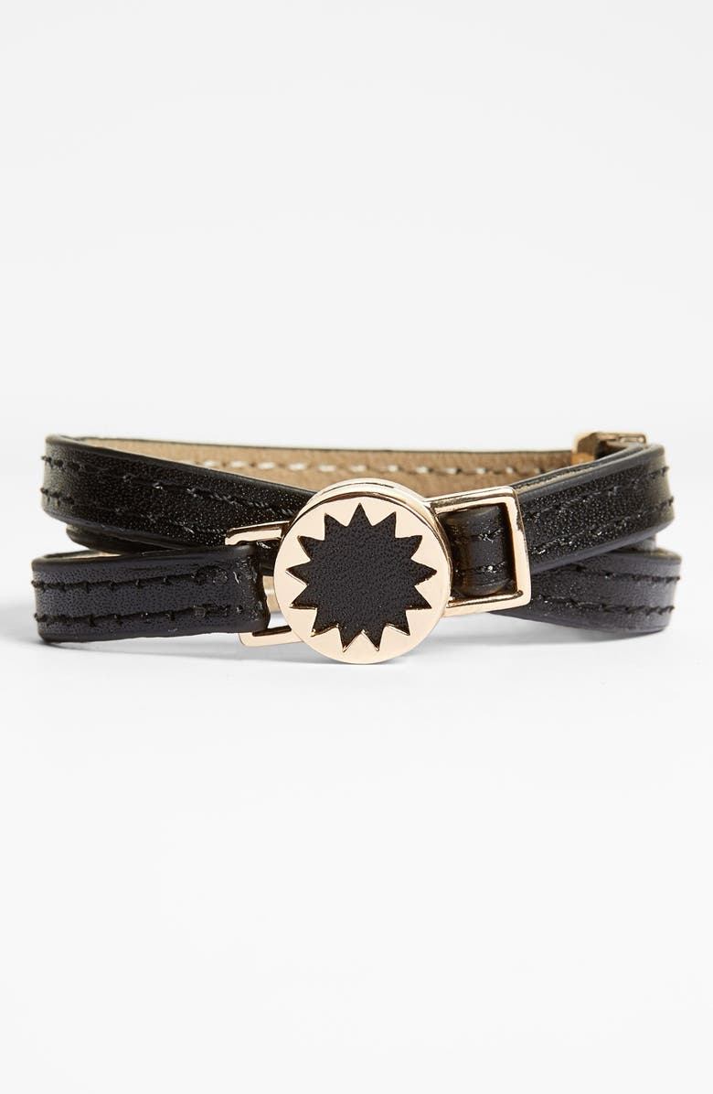 HOUSE OF HARLOW 1960 Sunburst Leather Wrap Bracelet, Main, color, 001