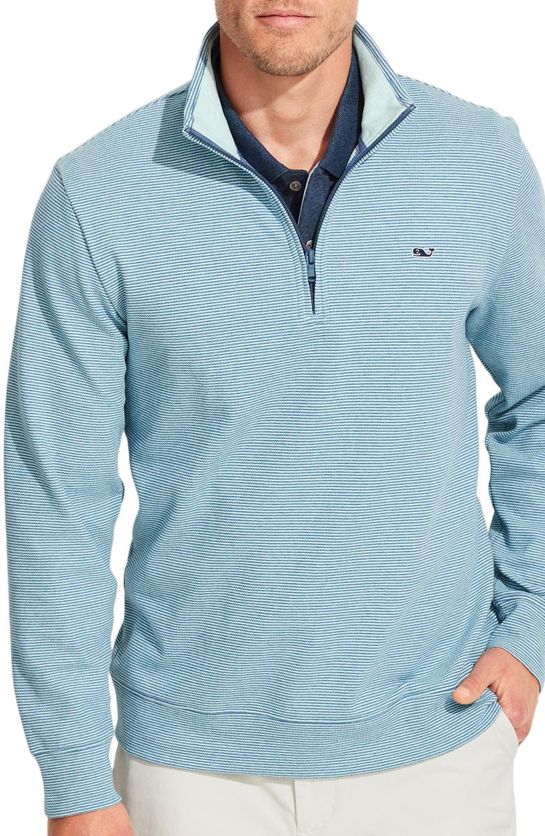VINEYARD VINES Coopers Town Stripe Quarter Zip Pullover, Main, color, MOONLIGHT