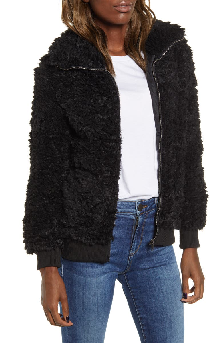 BB DAKOTA Teddy Or Not Faux Fur Bomber Jacket, Main, color, 001