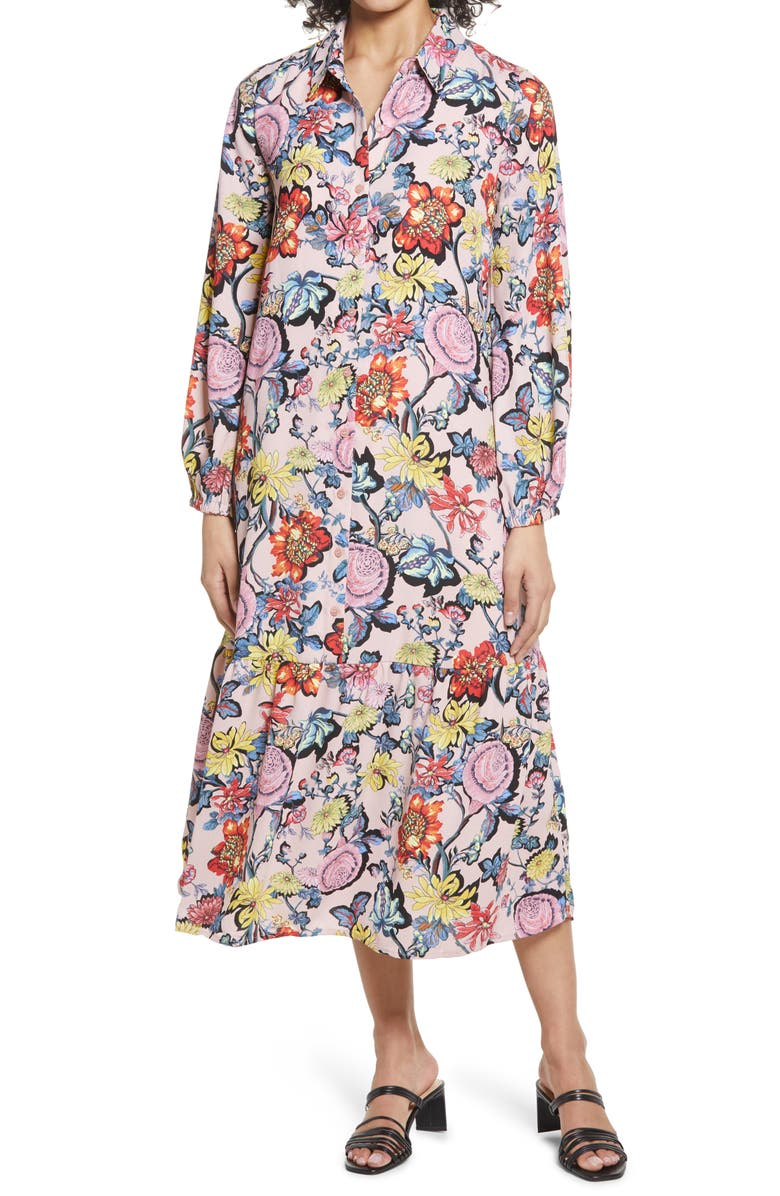 HALOGEN TIERED MAXI SHIRT DRESS, Main, color, PINK PUFF FLORAL