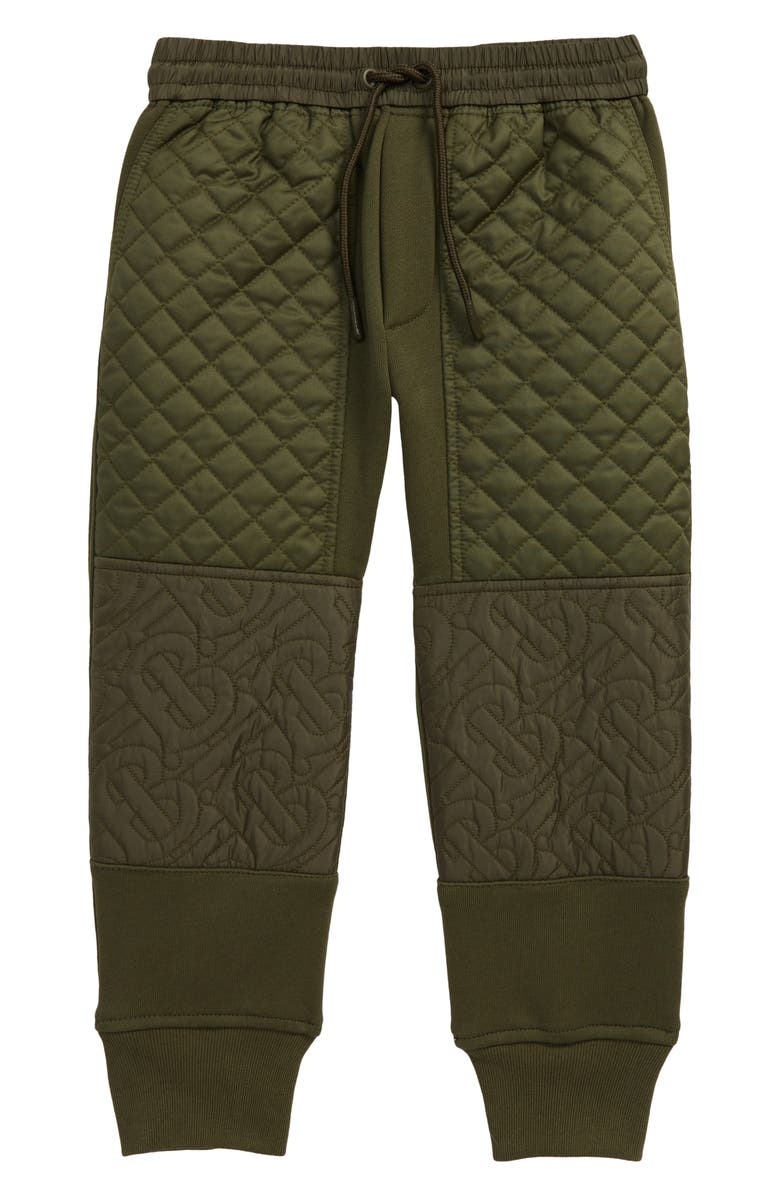 BURBERRY Kids' Timothie Monogram Quilted Joggers, Main, color, MOSS GREEN