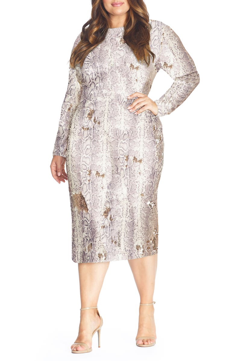 DRESS THE POPULATION Emery Long Sleeve Sequin Cocktail Dress, Main, color, 020