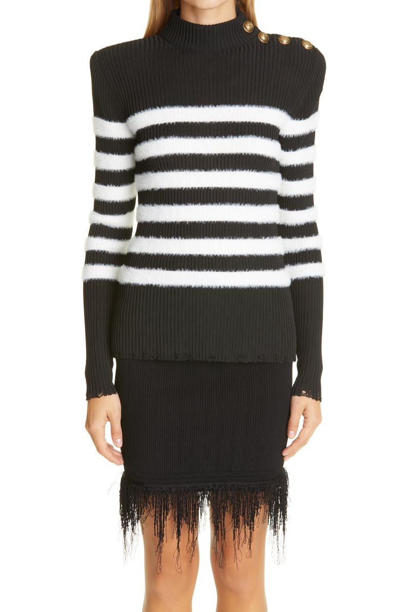 BALMAIN Placed Stripe Sweater, Main, color, NOIR/ BLANC