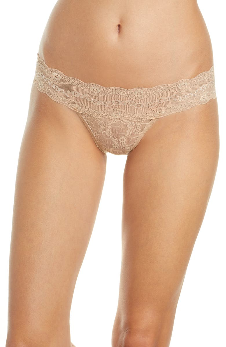 B.TEMPT'D BY WACOAL b.temptd by Wacoal Lace Kiss Bikini, Main, color, AU NATURAL