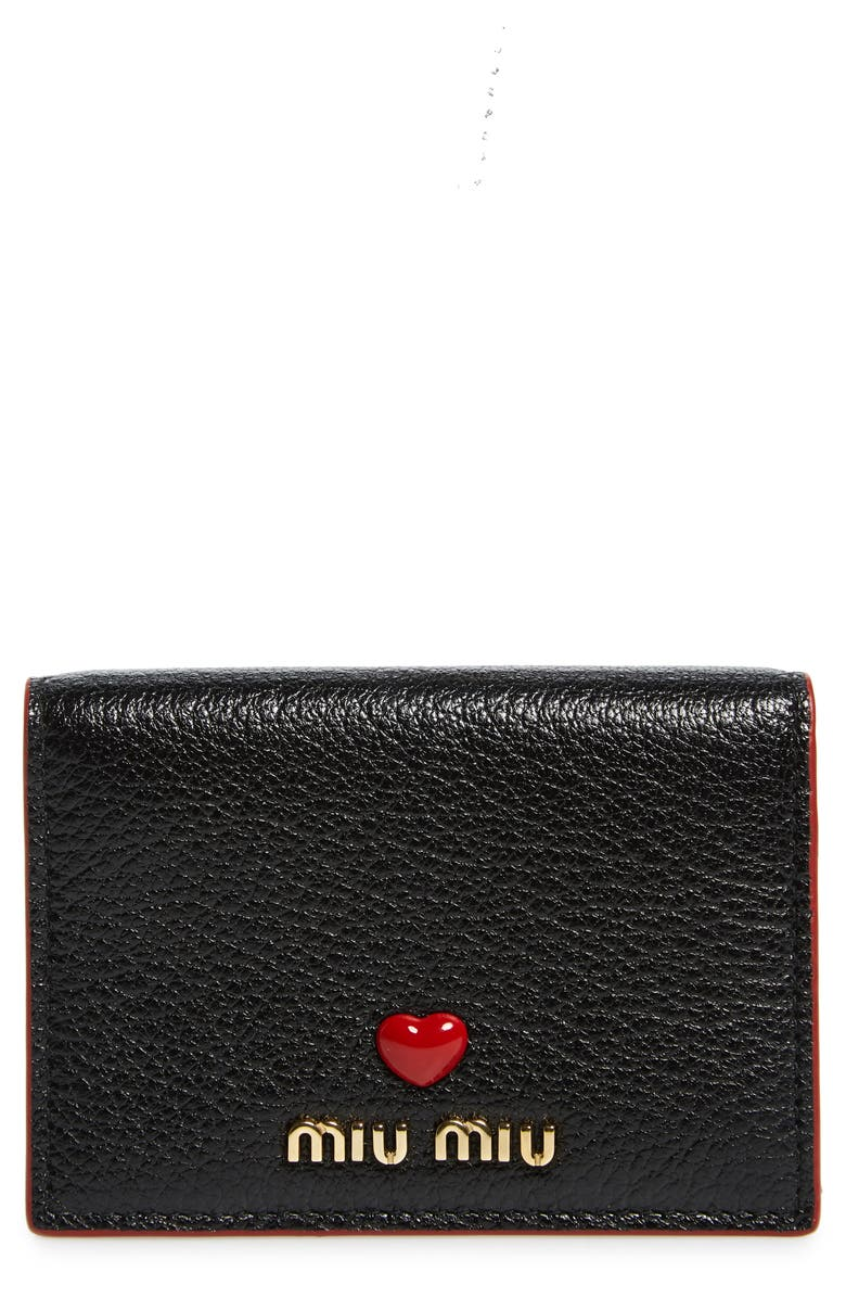 MIU MIU Madras Love Leather French Wallet, Main, color, 001