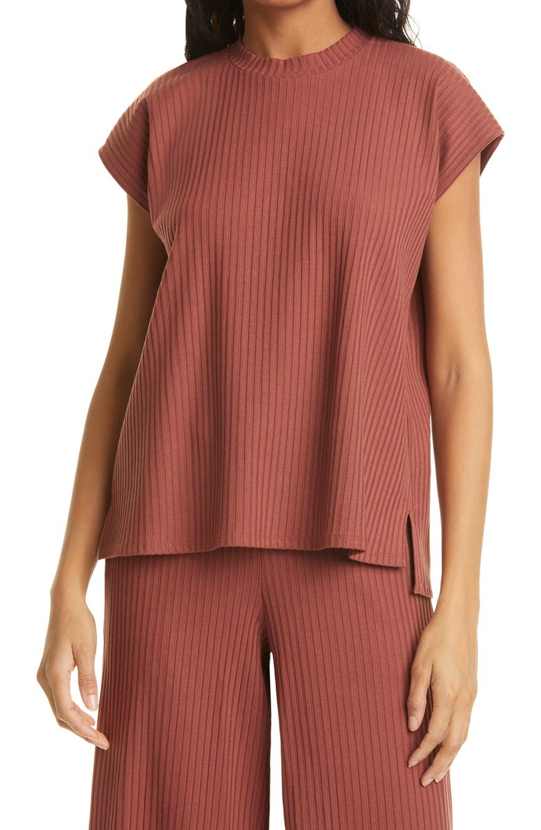 EILEEN FISHER Ribbed Organic Cotton Top, Main, color, 601