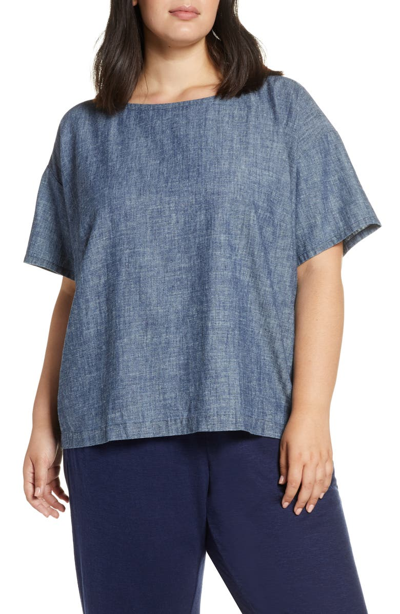 EILEEN FISHER Boat Neck Top, Main, color, 480