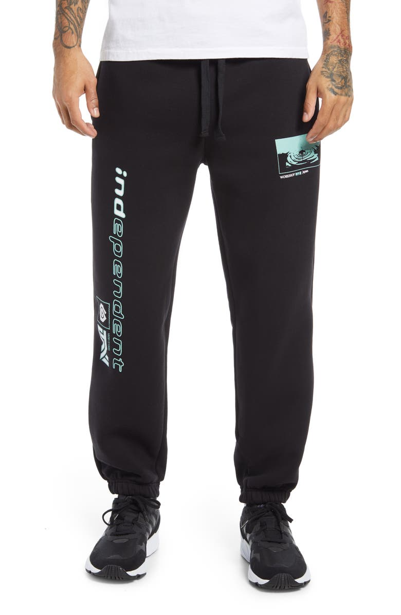 TOPMAN Independent Graphic Joggers, Main, color, Black