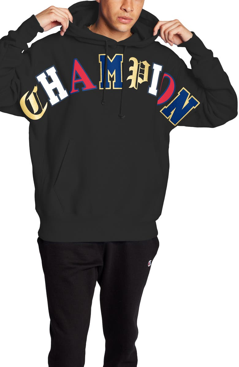 CHAMPION Old English Script Cotton Blend Hoodie, Main, color, 001