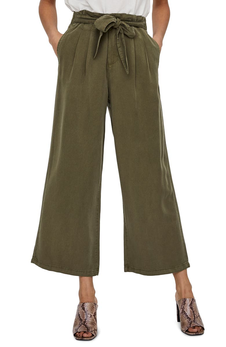 VERO MODA Laura High Waist Belted Ankle Pants, Main, color, IVY GREEN