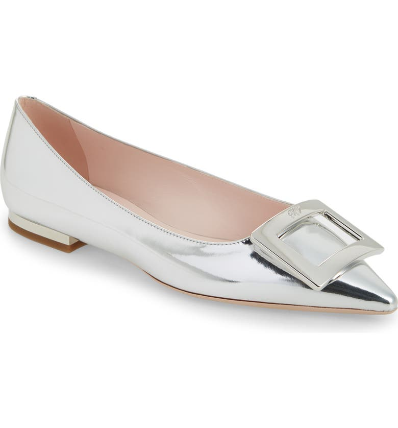 ROGER VIVIER Gommettine Buckle Metallic Pointed Toe Flat, Main, color, Silver