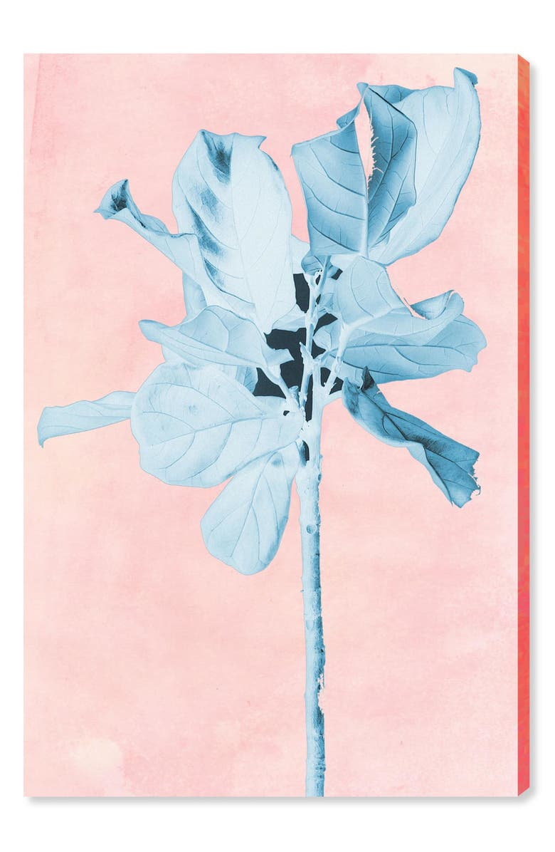 OLIVER GAL Fig Tree Leafy Blue Canvas Wall Art, Main, color, PINK