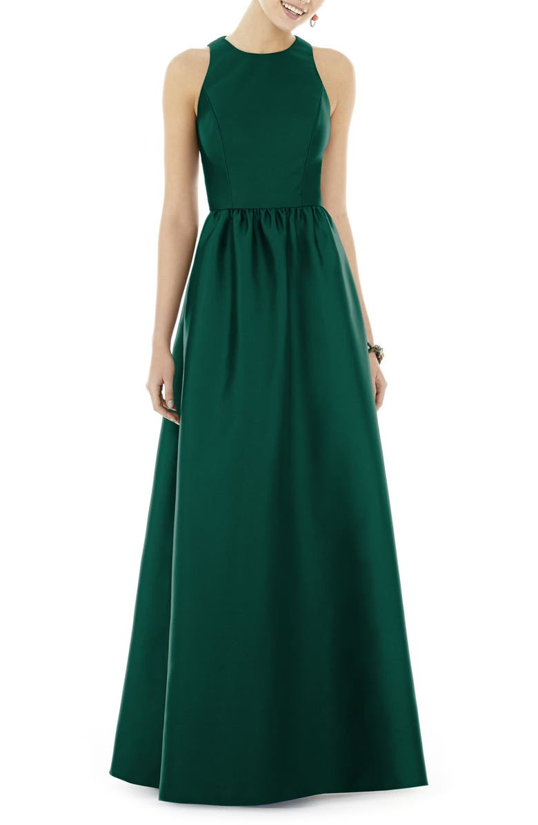 ALFRED SUNG Satin A-Line Gown, Main, color, HUNTER