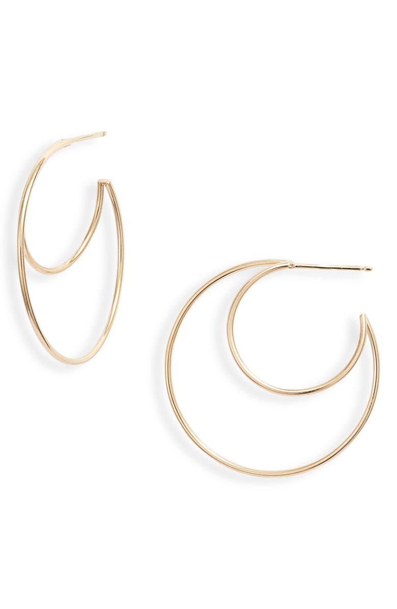 ZOË CHICCO Medium Double Wire Hoop Earrings, Main, color, YELLOW GOLD