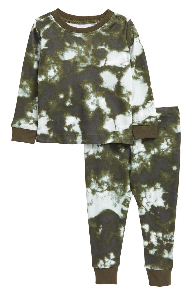 TUCKER + TATE Fitted Two-Piece Pajamas, Main, color, OLIVE SARMA TIE DYE