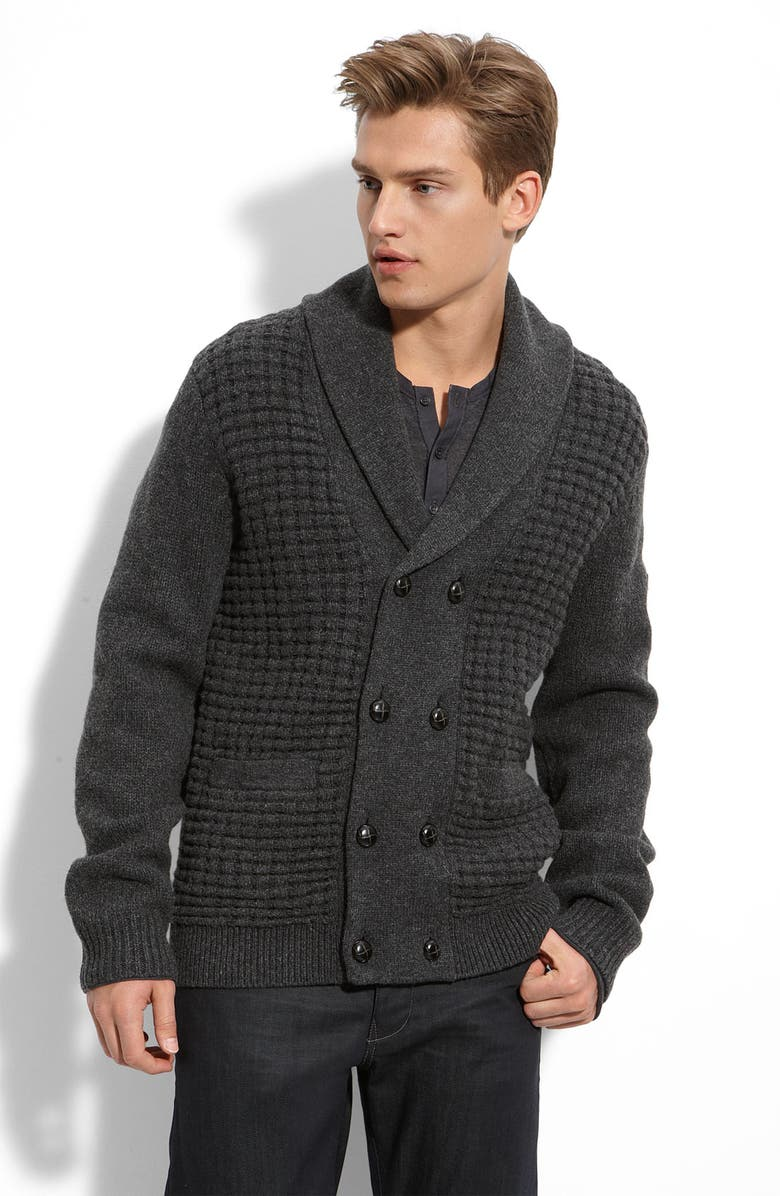 BEN SHERMAN Double Breasted Lambswool Cardigan, Main, color, CHARCOAL MARL