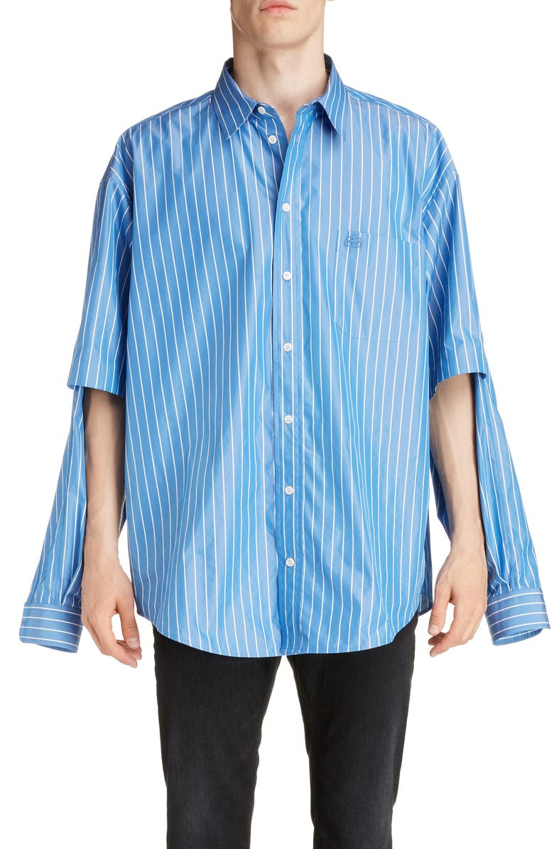 BALENCIAGA Double Sleeve Button-Down Shirt, Main, color, BLUE/WHITE