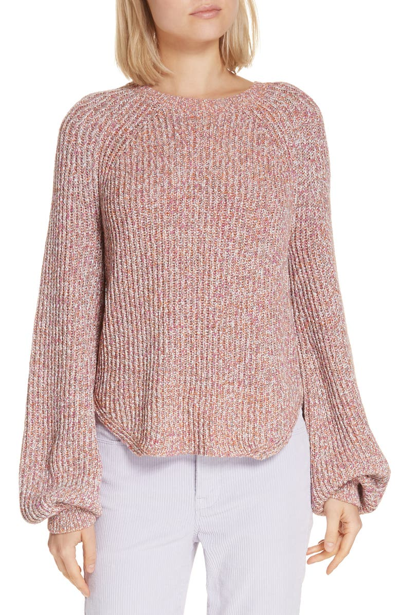FRAME Marled Puff Sleeve Sweater, Main, color, 502