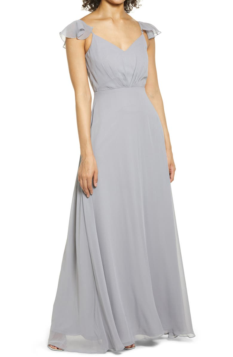 BIRDY GREY Flutter Sleeve Chiffon Gown, Main, color, SILVER