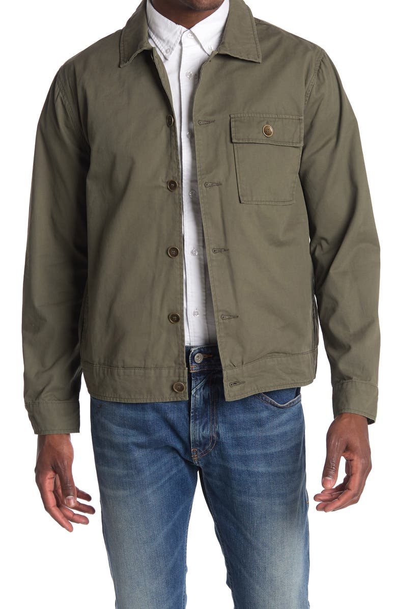 BLANKNYC Button Front Cotton Twill Shirt Jacket, Main, color, LETS CHILL