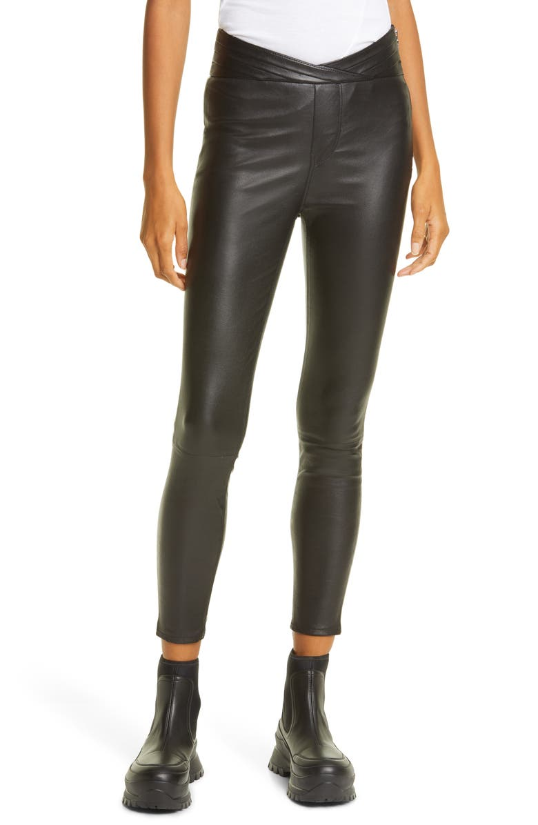 RTA Kyle Leather Skinny Pants, Main, color, 001
