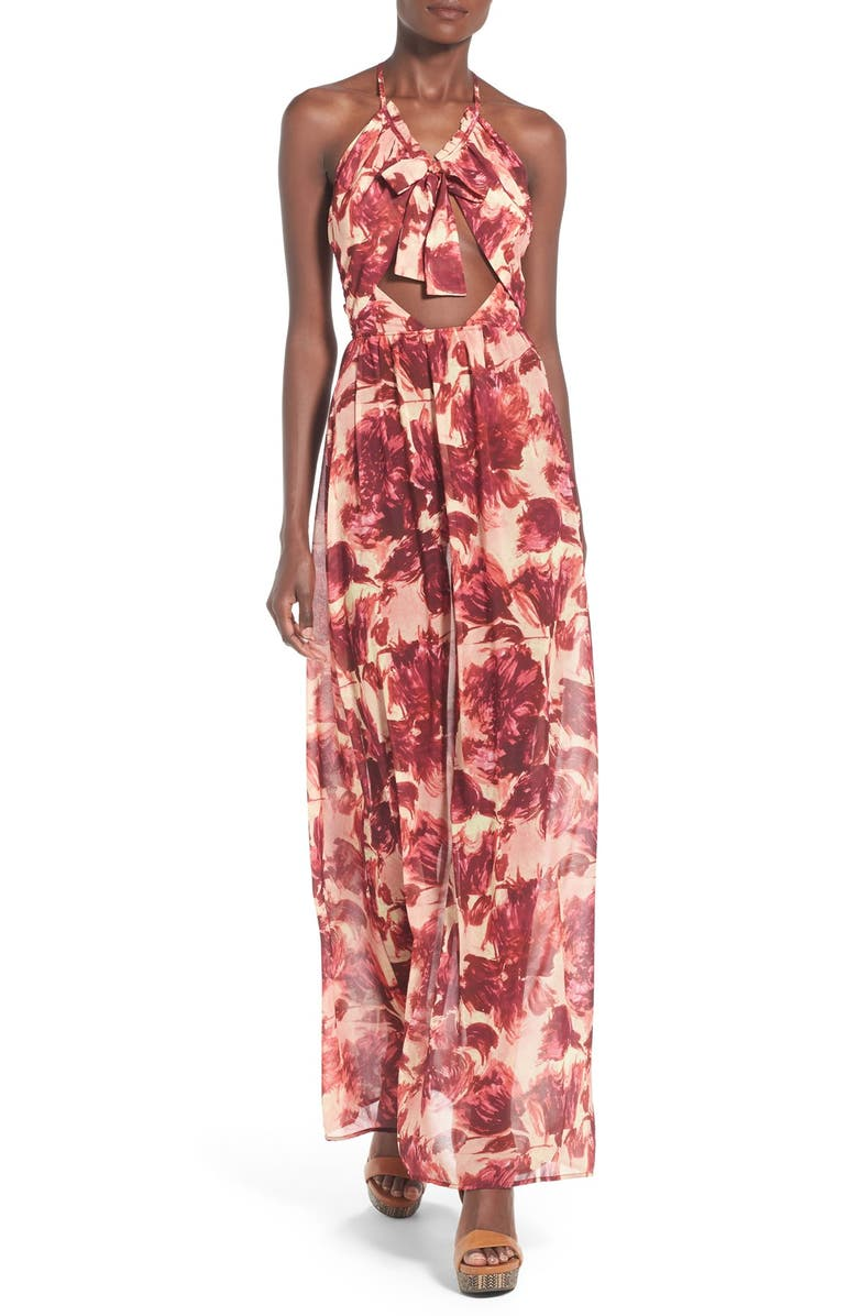 FOR LOVE & LEMONS 'Wild Rose' Floral Print Maxi Dress, Main, color, 600