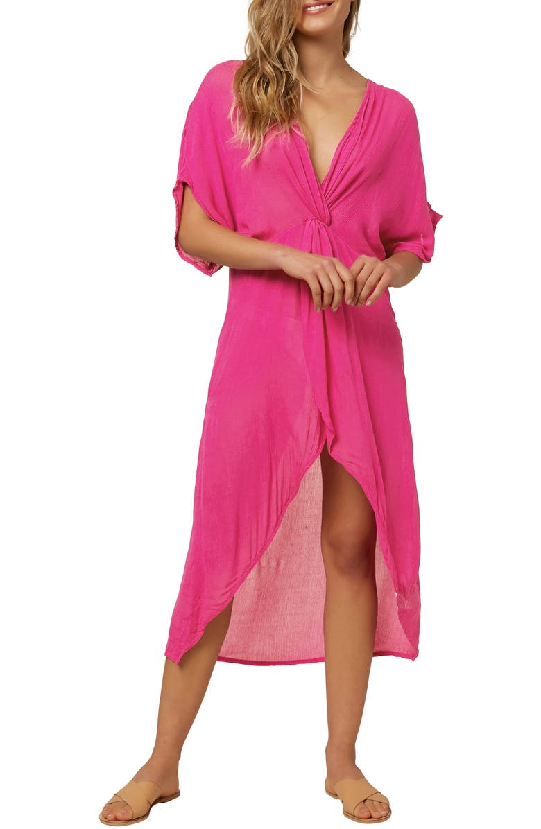 O'NEILL Saltwater Twist Cover-Up Tunic Dress, Main, color, NEON PINK