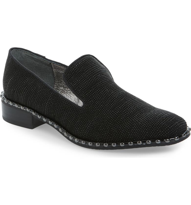 ADRIANNA PAPELL 'Prince' Studded Smoking Slipper Flat, Main, color, 011