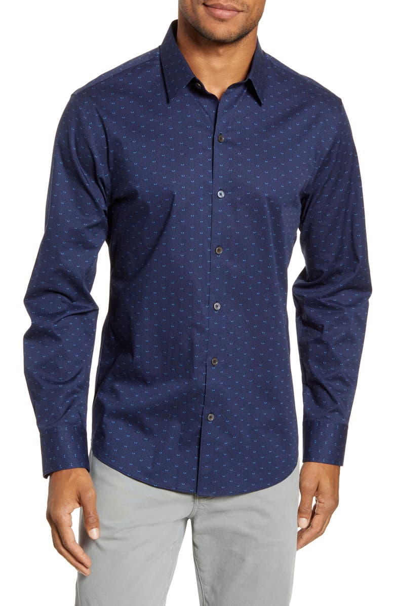 ZACHARY PRELL Guerro Regular Fit Leaf Print Button-Up Sport Shirt, Main, color, 410