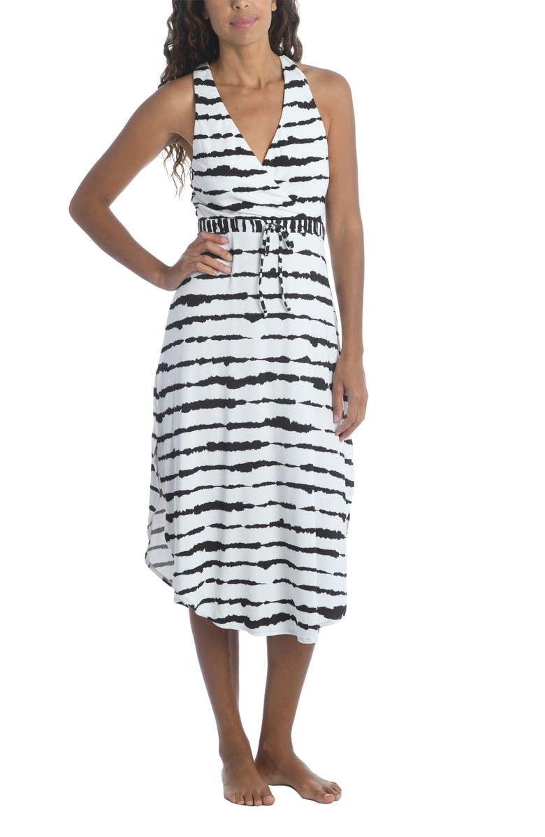 LA BLANCA Elemental Midi Cover-Up Dress, Main, color, BLACK/ WHITE