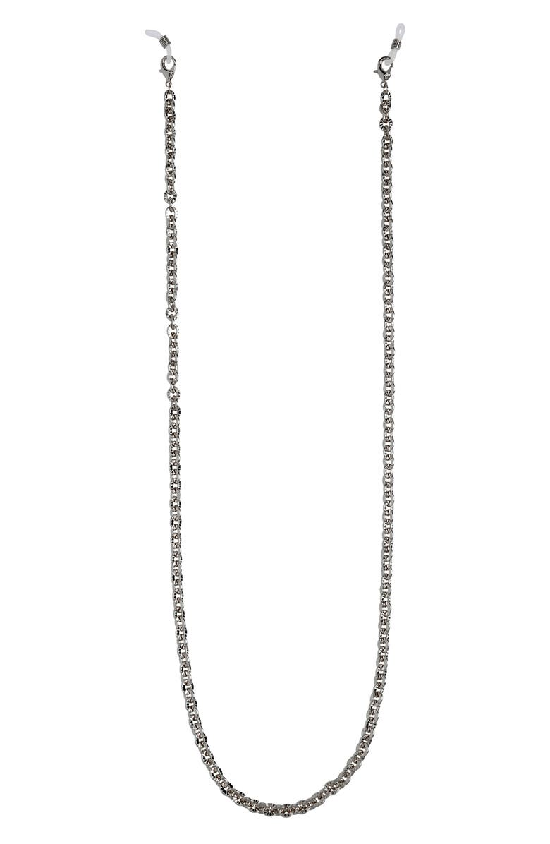 HALOGEN<SUP>®</SUP> Textured Metal Adult Face Mask Chain, Main, color, HEMATITE