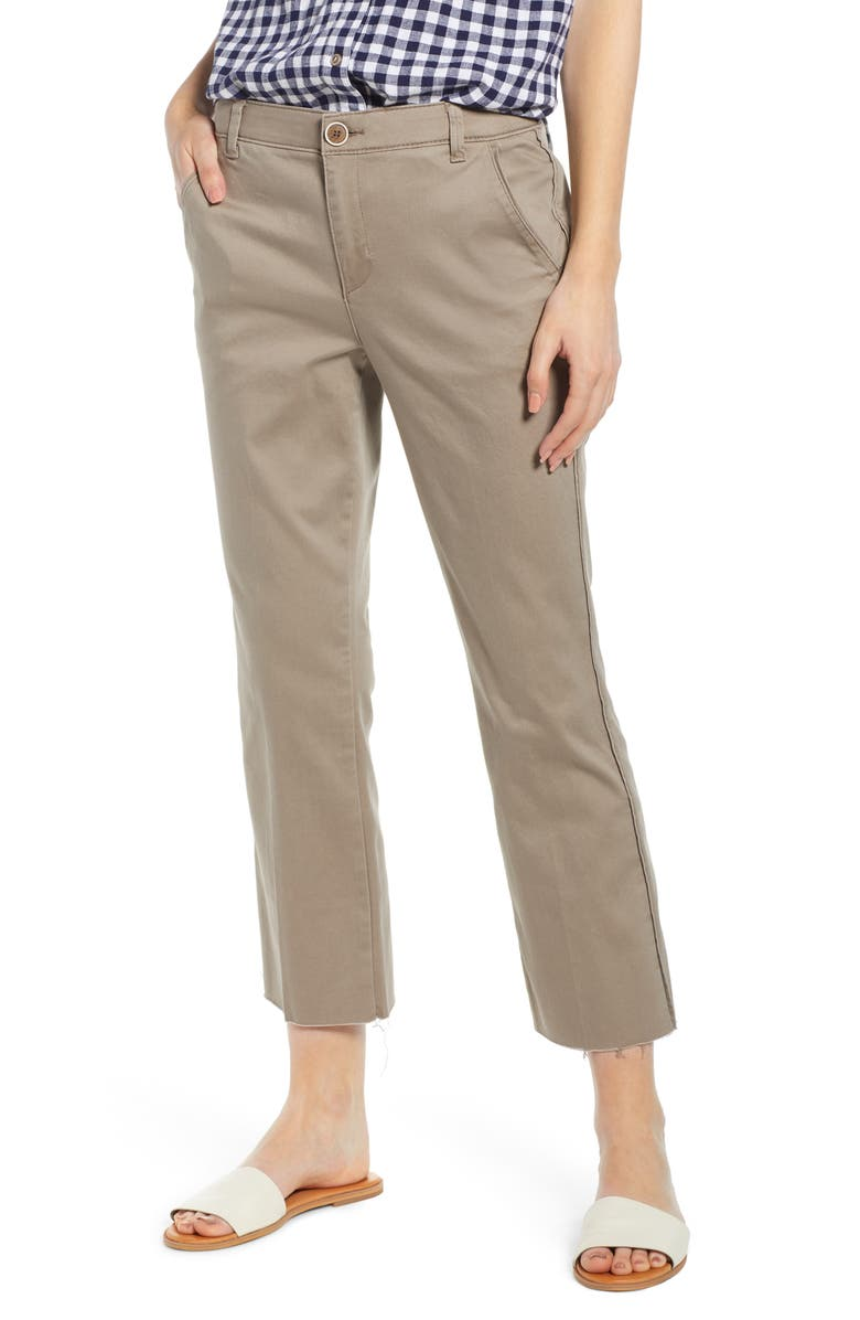 WIT AND WISDOM High Rise Kick Flare Chinos, Main, color, MOON ROCK