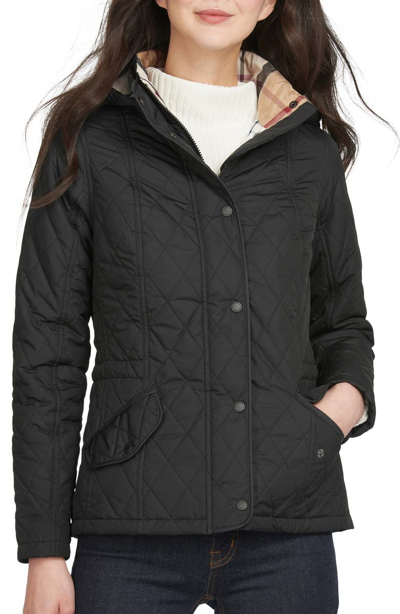 BARBOUR Millfire Quilted Hooded Jacket, Main, color, BLACK/ HESSIAN