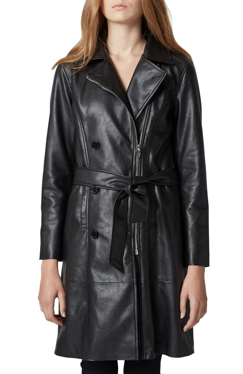 BLANKNYC Faux Leather Trench Coat, Main, color, 001