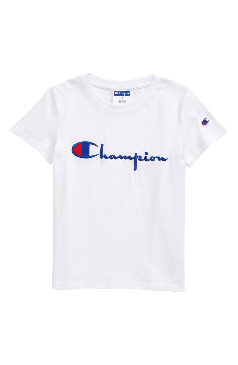 CHAMPION Heritage Signature Embroidered T-Shirt, Main, color, WHITE