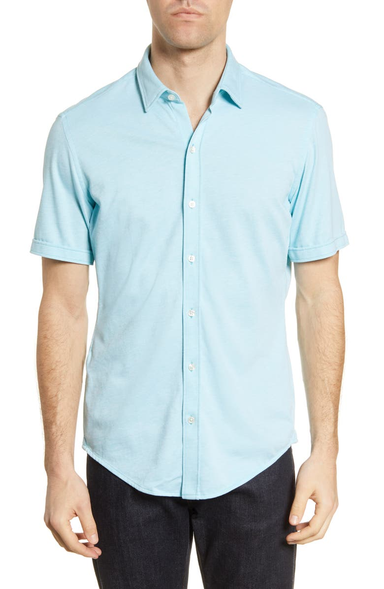 BOSS Robb Slim Fit Jersey Short Sleeve Sport Shirt, Main, color, TEAL