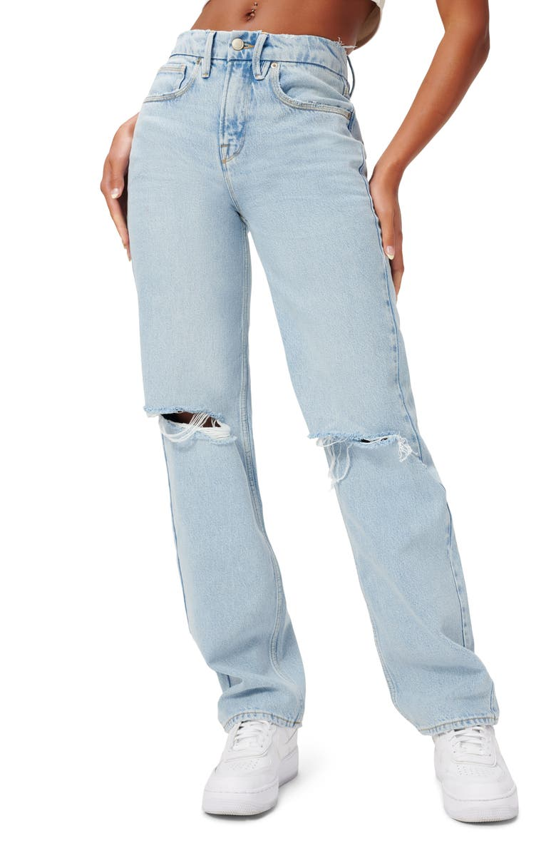 GOOD AMERICAN Good '90s Ripped Straight Leg Jeans, Main, color, BLUE542