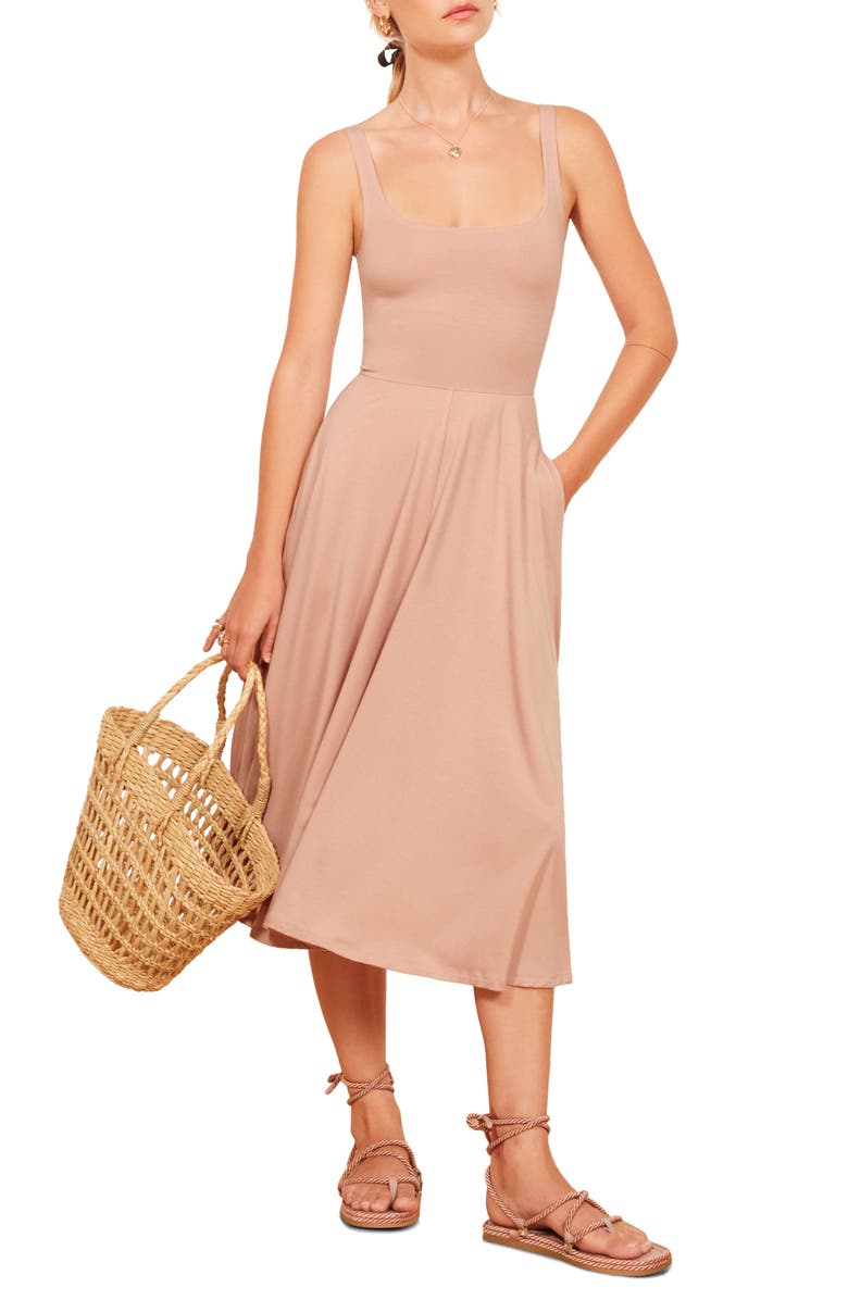REFORMATION Rou Midi Fit & Flare Dress, Main, color, BLUSH