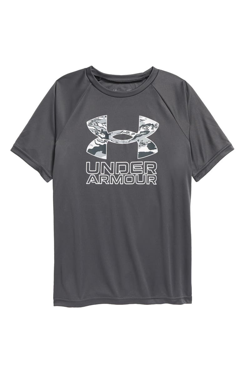 UNDER ARMOUR Kids' UA Tech<sup>™</sup> Hybrid Performance Graphic Tee, Main, color, PITCH GRAY / / WASHED BLUE