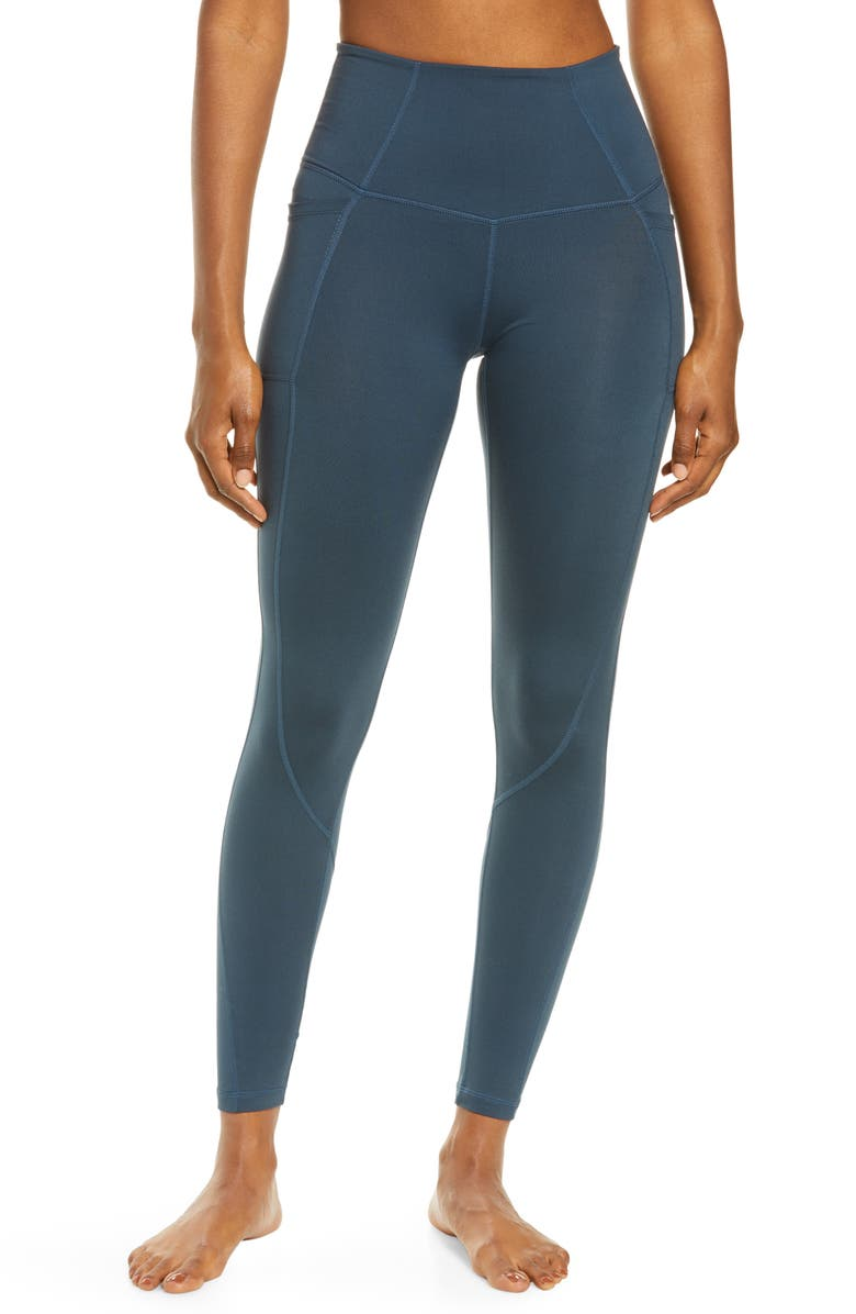FREE PEOPLE FP MOVEMENT Plie All Day High Waist Pocket Leggings, Main, color, NEW NAVY