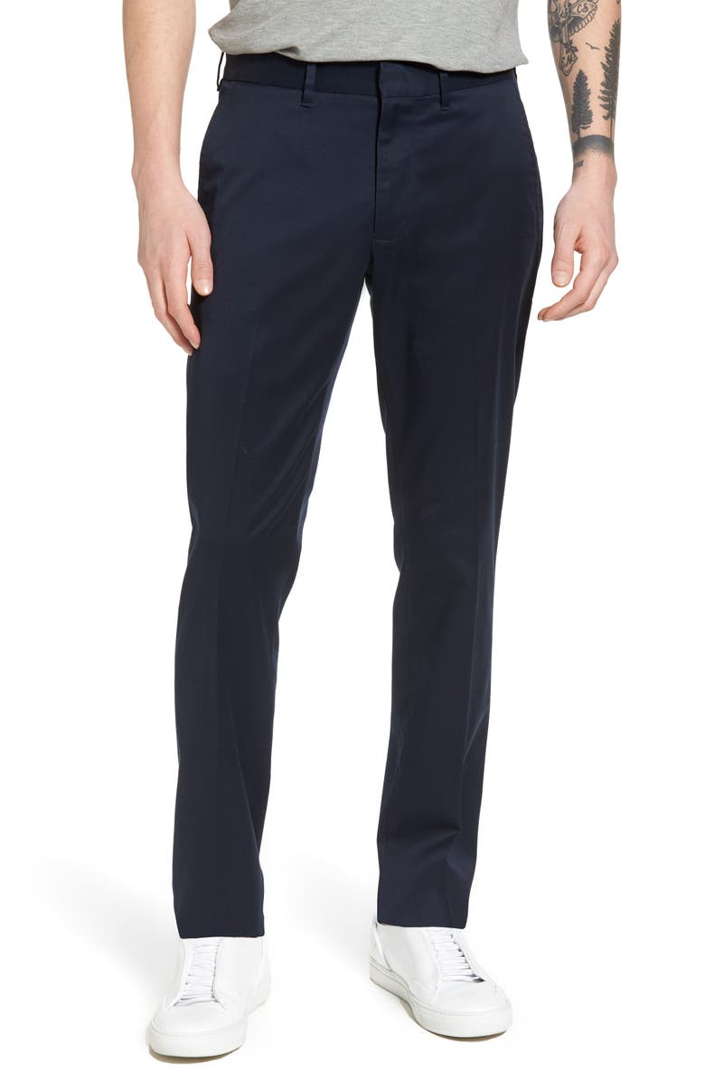 NORDSTROM Slim Fit Non-Iron Chinos, Main, color, NAVY ECLIPSE